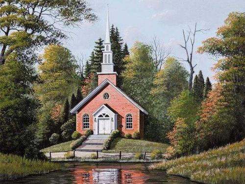 5D Diamond Painting Red Brick Church Kit