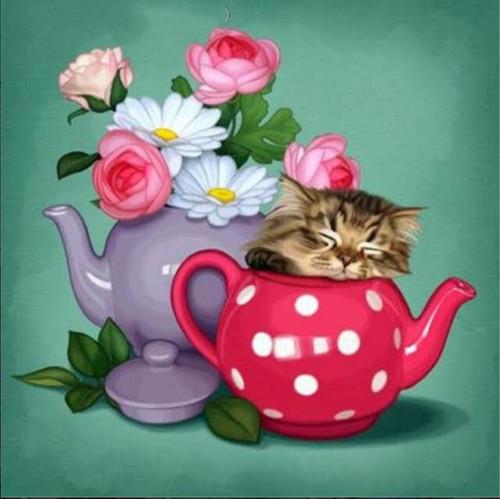 5D Diamond Painting Teapot Kitten