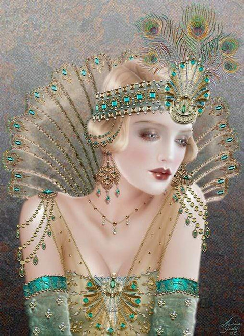 5D Diamond Painting Green Feather Evening Bandeau Flapper Kit
