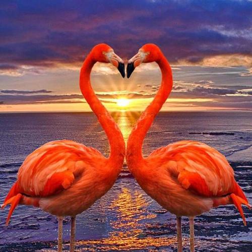 5D Diamond Painting Two Pink Flamingo Sunset Kit