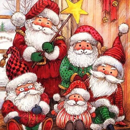 5D Diamond Painting Five Santas Kit