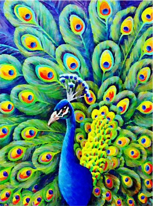5D Diamond Painting Green Feather Peacock Kit