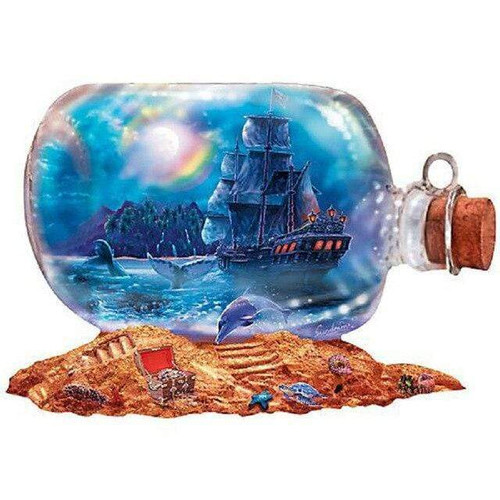 5D Diamond Painting Ship in a Bottle on Sand Kit