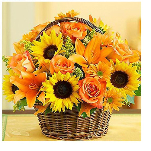 5D Diamond Painting Sunflower and Roses Basket Bouquet Kit