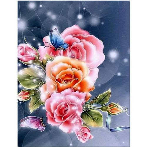 5D Diamond Painting Brilliant Butterflies & Roses Kit