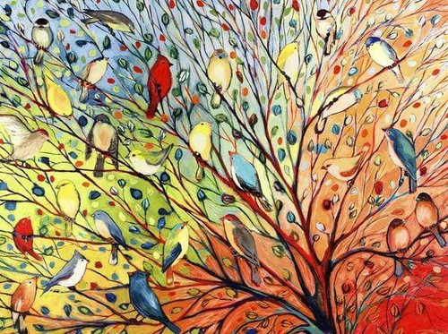 5D Diamond Painting Abstract Birds in the Trees Kit