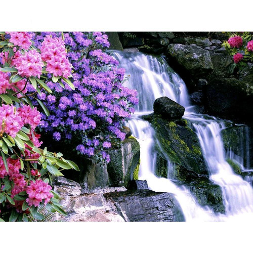 5D Diamond Painting Flowers by the Waterfall Kit