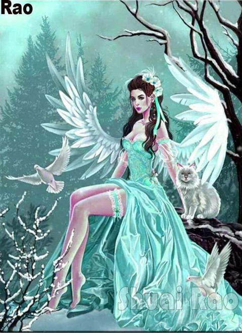 5D Diamond Painting Angel, Cat, and Doves Kit