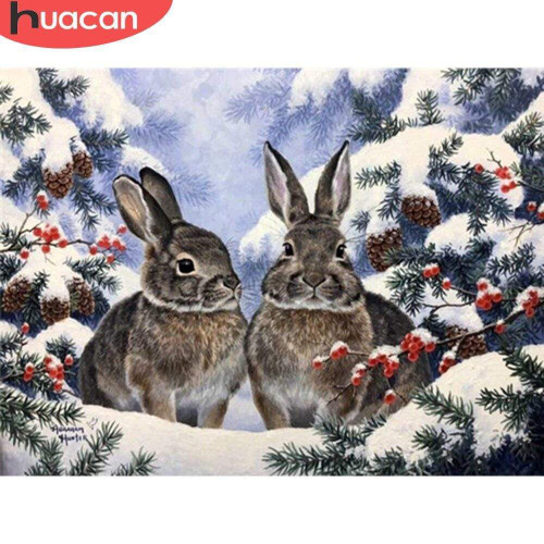 5D Diamond Painting Two Rabbits in the Snow Kit