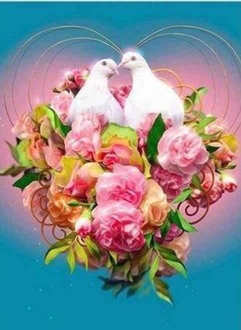 5D Diamond Painting Two White Doves Kit