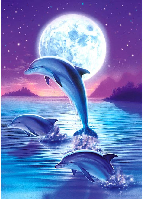 5D Diamond Painting Dolphins by Moonlight Kit