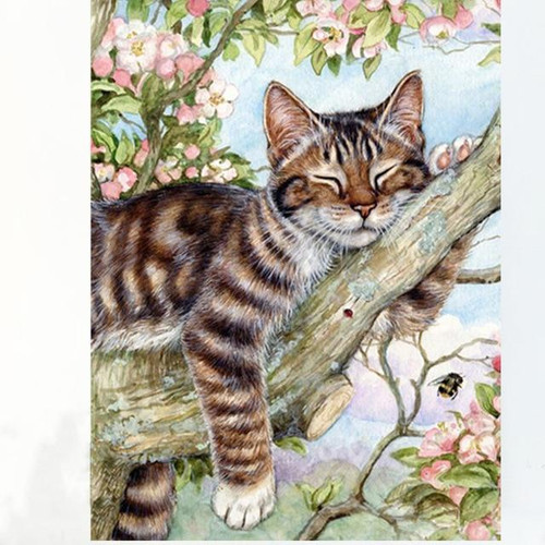 5D Diamond Painting Cat in a Tree Kit