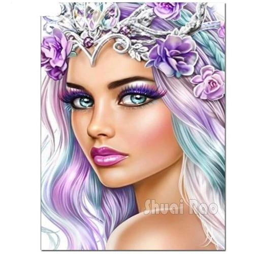 5D Diamond Painting Purple Flower Princess Kit