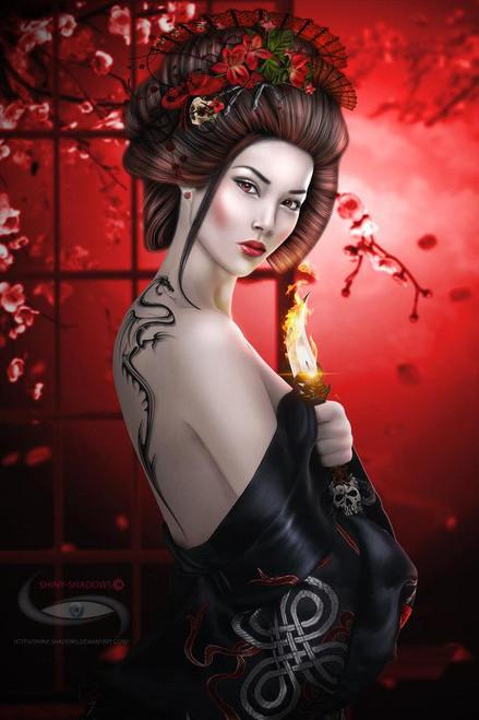 5D Diamond Painting Dragon Tattoo Japanese Woman Kit