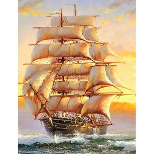 5D Diamond Painting Golden Sun Sailing Ship Kit