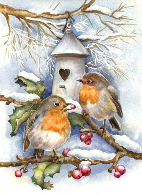 5D Diamond Painting Two Birds and a Heart Birdhouse Kit