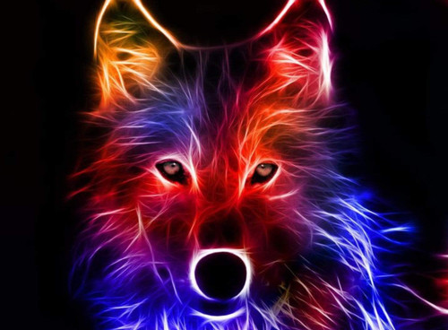 5D Diamond Painting Colorful Electric Wolf Kit