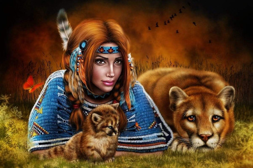 5D Diamond Painting Indian Woman & Cougars Kit