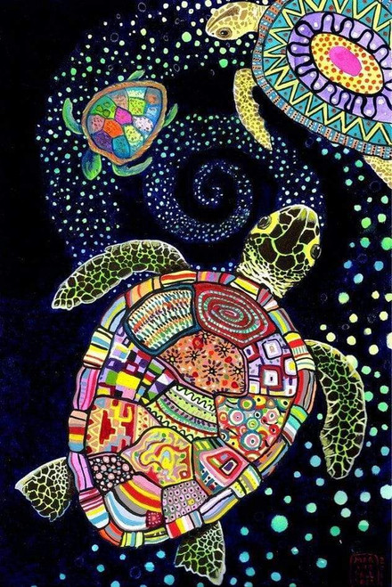 5D Diamond Painting Three Abstract Turtles Kit