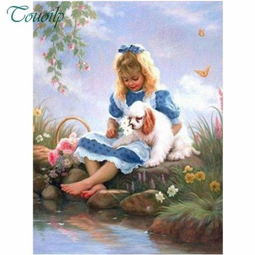 5D Diamond Painting Girl and Her Puppy by the Water Kit