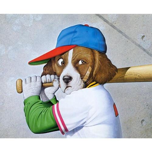 5D Diamond Painting Cartoon Dog Playing Baseball Kit