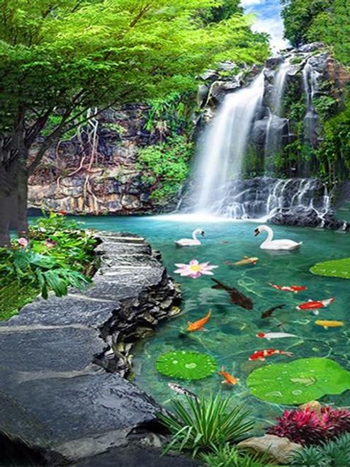 5D Diamond Painting Koi Pond Waterfall Kit