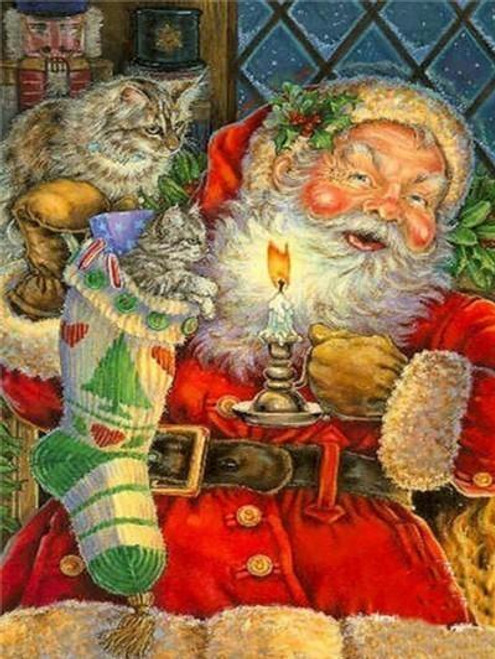 5D Diamond Painting Two Cats and Santa Kit