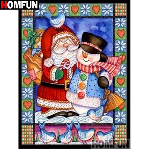 5D Diamond Painting Santa and a Snowman Kit