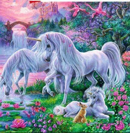 5D Diamond Painting Three Unicorns and a Rabbit Kit