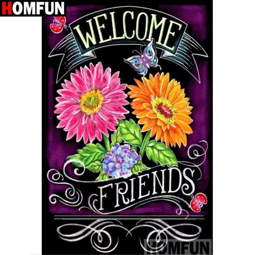 5D Diamond Painting Welcome Friends Flowers Kit