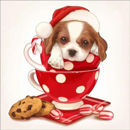 5D Diamond Painting Polka Dot Cup Christmas Puppy Kit