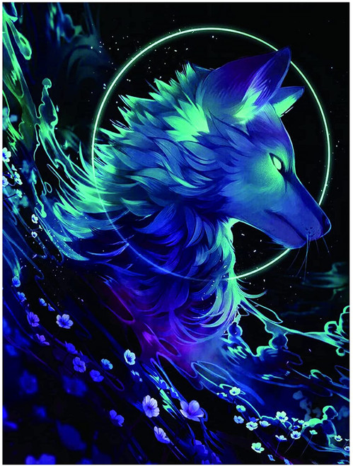 5D Diamond Painting Glowing Wolf and Flowers Kit