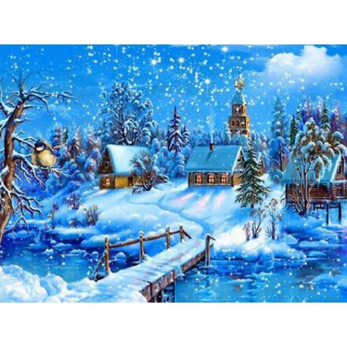 5D Diamond Painting Cabins in the Snow Kit