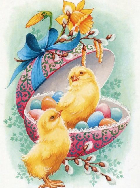 5D Diamond Painting Two Yellow Chicks & Easter Eggs Kit