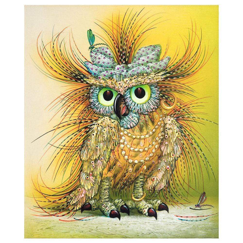 5D Diamond Painting Yellow Abstract Owl Kit
