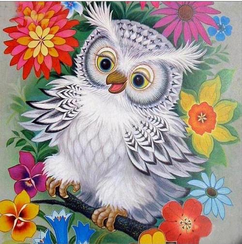 5D Diamond Painting Baby Owl with Flowers Kit