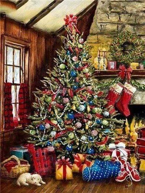 5D Diamond Painting Christmas Day Gifts Around the Tree Kit