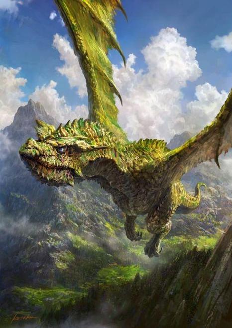 5D Diamond Painting Green Flying Dragon Kit