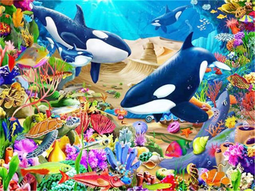 5D Diamond Painting Turtle and Orcas Kit