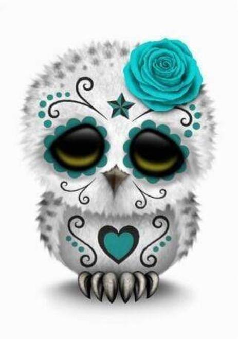 5D Diamond Painting Turquoise Skull Owl Kit