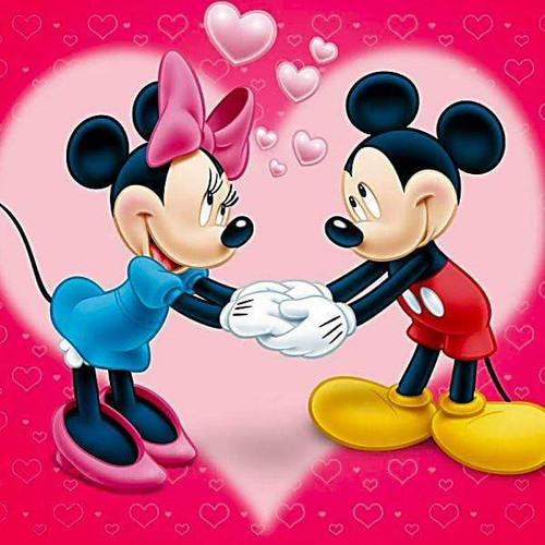 5D Diamond Painting Minnie and Mickey Pink Heart Kit