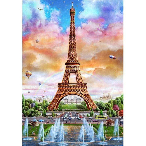 5D Diamond Painting Fountains at the Eiffel Tower Kit