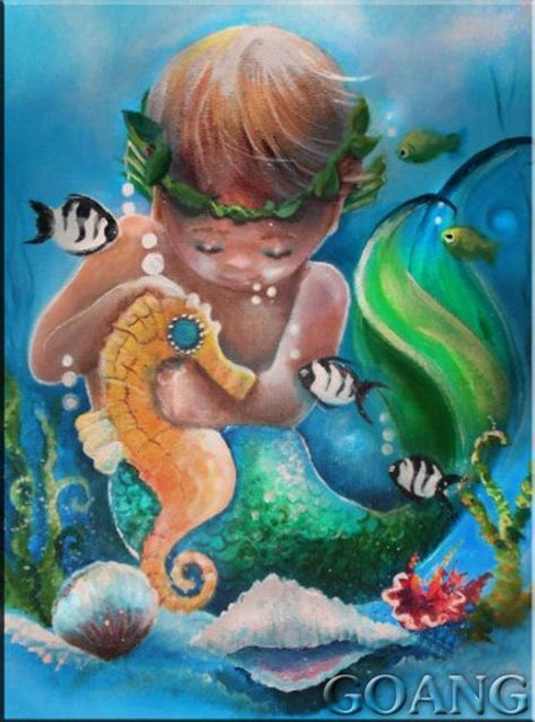 5D Diamond Painting Baby Mermaid Seahorse Kit