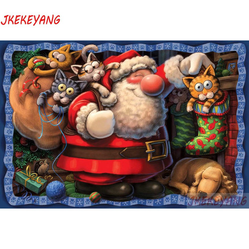 5D Diamond Painting Santa Cats Kit