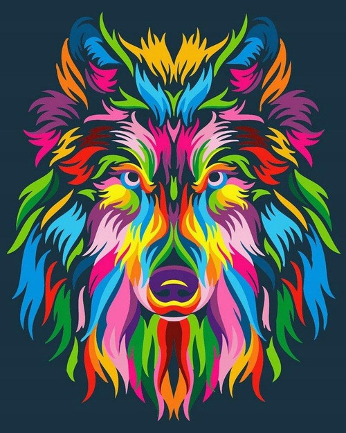 5D Diamond Painting Abstract Color Wolf Kit
