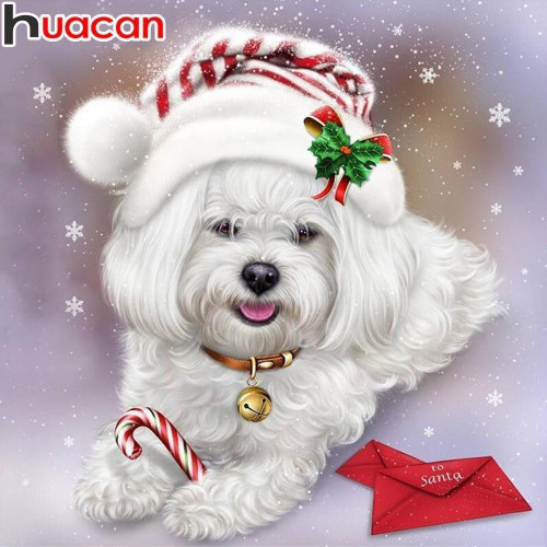 5D Diamond Painting White Christmas Puppy Kit