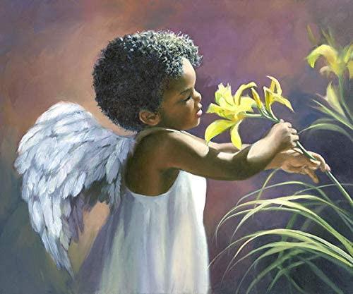 5D Diamond Painting Angel & Yellow Lillies Kit