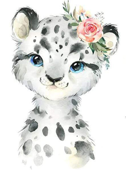 5D Diamond Painting Baby Leopard with Flowers Kit
