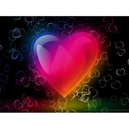 5D Diamond Painting Glowing Rainbow Heart Kit