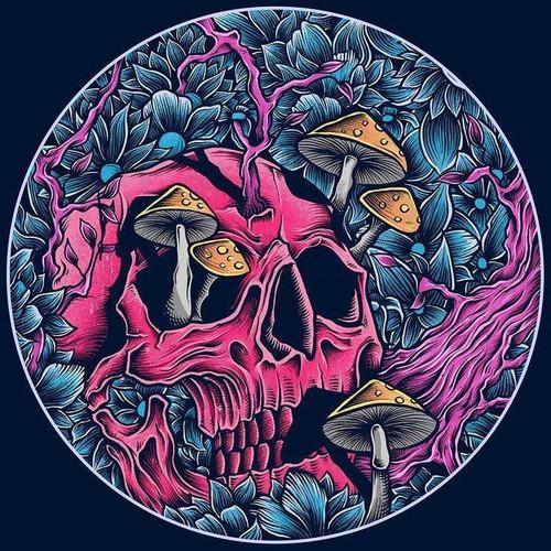 5D Diamond Painting Skull & Mushrooms Circle Kit